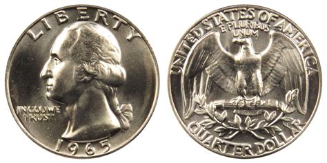 1965 washington quarters clad composition value and prices