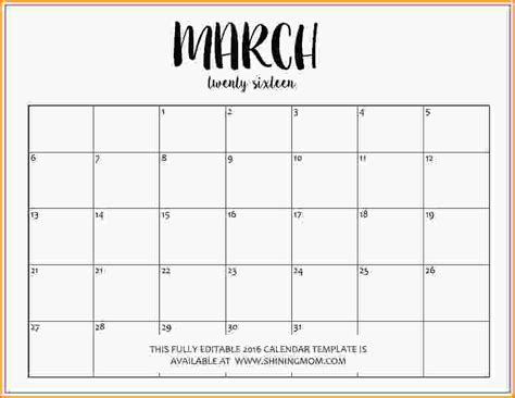 microsoft word calendar template editable calendar 2016 fully editable march 2016 calendar