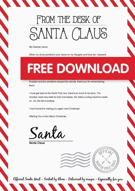 free printable personalised letter from santa template receive letter from santa letter of recommendation