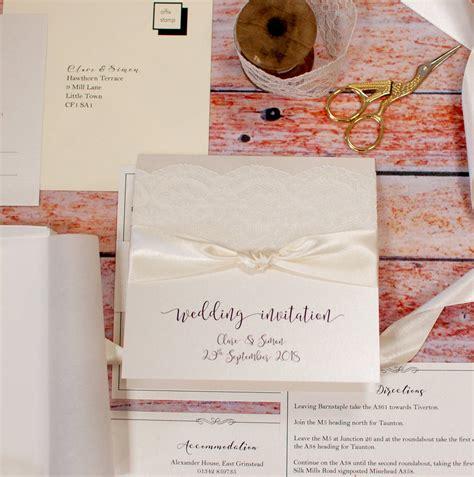 not on the high lace wedding invitations vintage style lace wedding invitations by made with designs ltd notonthehighstreet