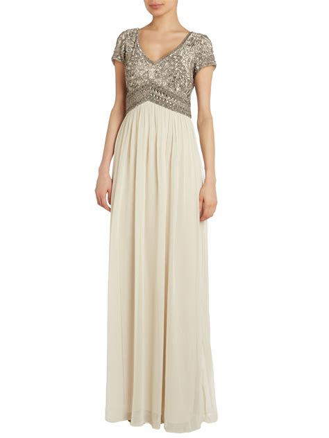 Papell Beaded Top Empire Waist Dress In