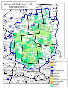 Adirondack State Park Map by Map Scenic Wild And Recreational Rivers In Adirondack