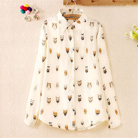 Blouse Atasan Wanita Style Pattern L 188460 Original Sale owls print semi sheer sleeve button shirt blouse grxjy561089 on luulla