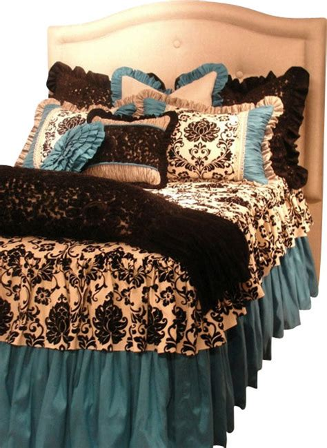 Black Toile Bedding Sets Size Turquoise Black And White Damask Toile Bedding Set Traditional
