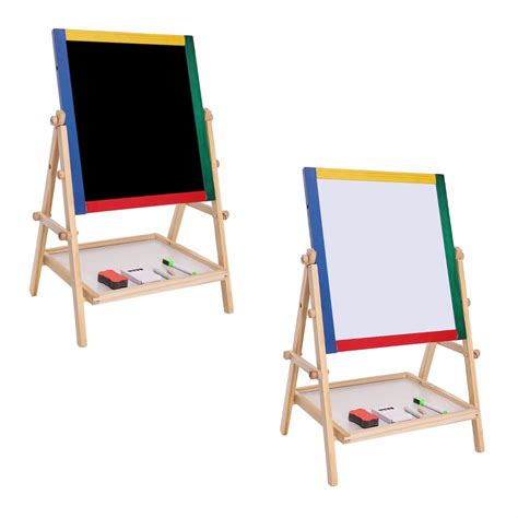 Drawing Board 1 drawing board educational for children adjustable children 2 in 1 black white wooden