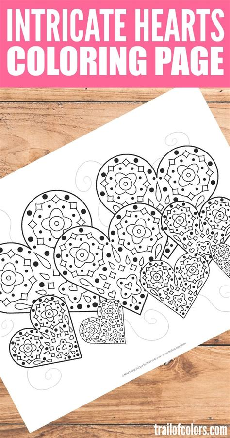 intricate valentine coloring pages intricate hearts coloring page free printable craft and