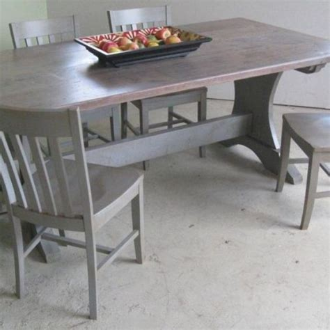 made trestle dining room table with driftwood finish