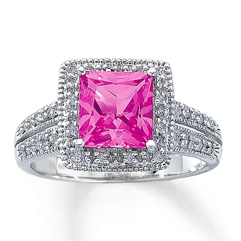 jared lab created pink sapphire ring square cut 10k
