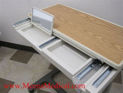 hospital bed tray table with drawer used hill rom pmjr overbed table for sale dotmed listing