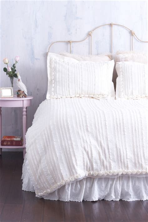 cream ruffle bedding cream ruffled duvet cover with rosette trim