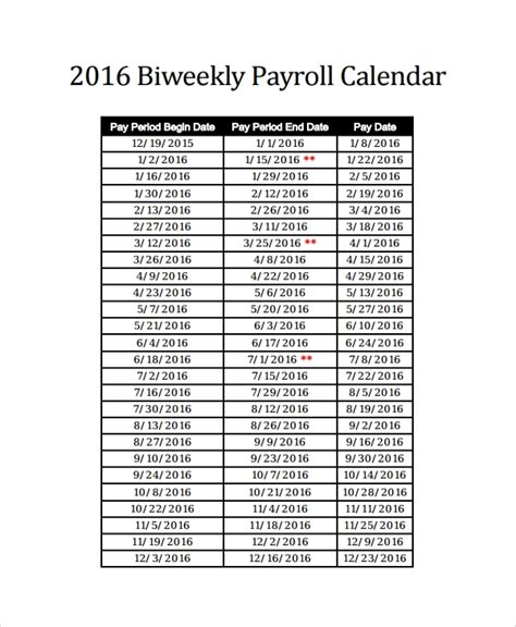 10 Payroll Calendar Templates Sle Templates 2018 Weekly Payroll Calendar Template