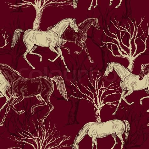 drawing pattern on fabric vintage beautiful background with horses and trees