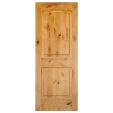 krosswood doors 28 in x 80 in rustic knotty alder 2 panel top rail arch solid wood core