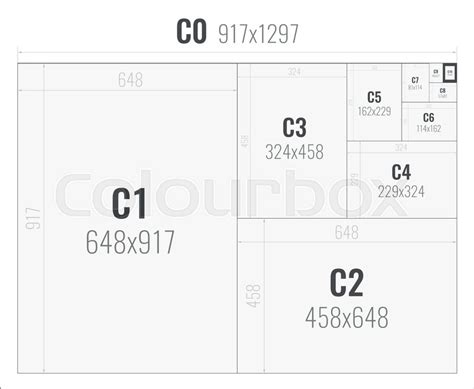 postcard format size paper size of format series c from c0 stock vector