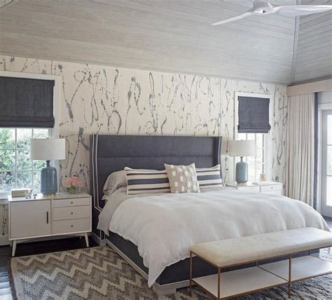 blue white gray bedroom gray headboard with white marble l transitional bedroom