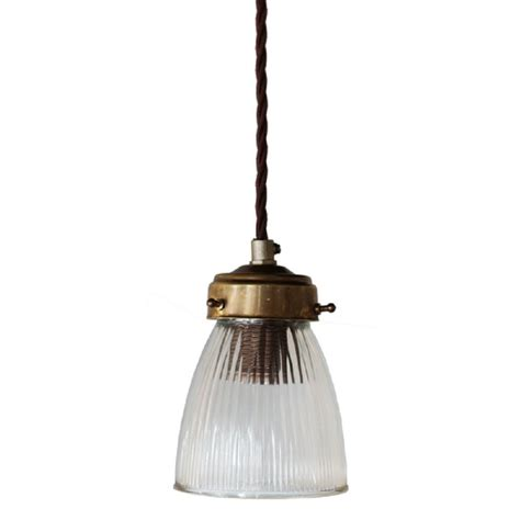 Small Glass Pendant Light Small Entrance Light Clear Ribbed Glass Shade On Braided Cable