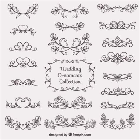 wedding invitation ornaments vector sketches wedding ornament collection vector free