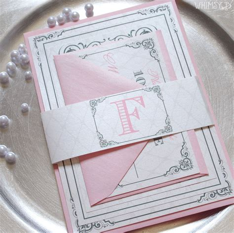pink and gray wedding invitations pink wedding invitations wedding suite with belly band