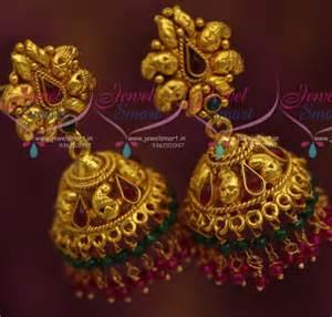 Gold design two step multi bead drops jhumka fashion jewellery online