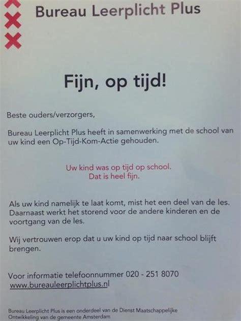 voorstel brief voor ouders geenstijl eng leerplichtmannetje valt ouders lastig op school