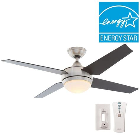 sonic 52 in indoor brushed nickel ceiling fan with