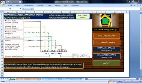 format excel inventaris barang aplikasi cetak label barang inventaris milik daerah format
