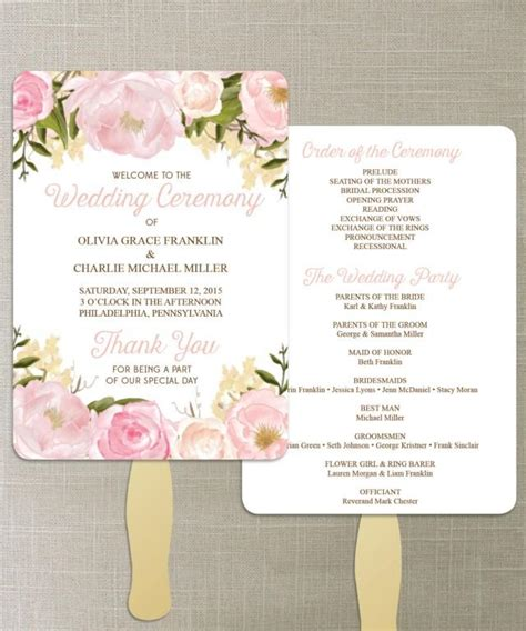 Instant Download Floral Diy Printable Wedding Fan Programs Wedding Program Editable Do It Yourself Wedding Programs Templates Free