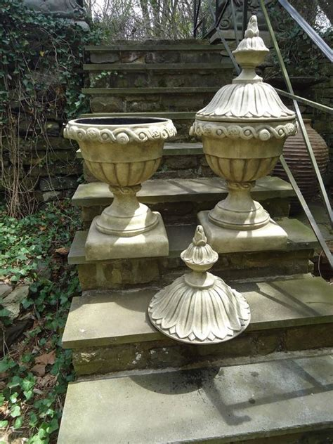 Faux Planters Urns by Pair Of Faux Concrete Italian Urn Planters With Lids At