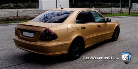 Folie Gold Auto folierung mercedes e klasse brushed gold car wrapping 21