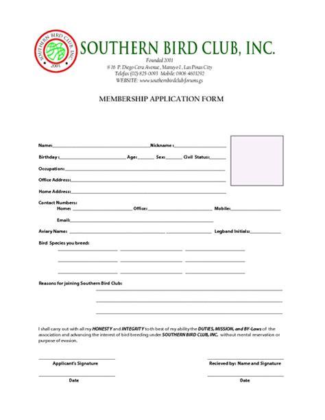 Southern Bird Club Membership Application Form Pdfsr Com Club Application Template
