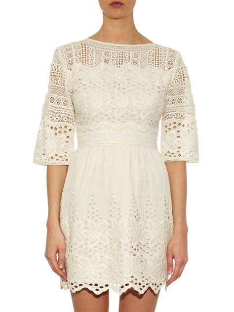 Cotton Dress 30513 2 lyst talitha broderie anglaise cotton dress in