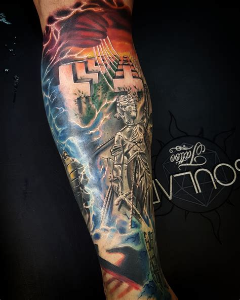 metallica album cover leg tattoo by matt parkin soular
