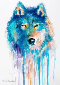 water color animals wolf watercolor painting print by slaveika aladjova