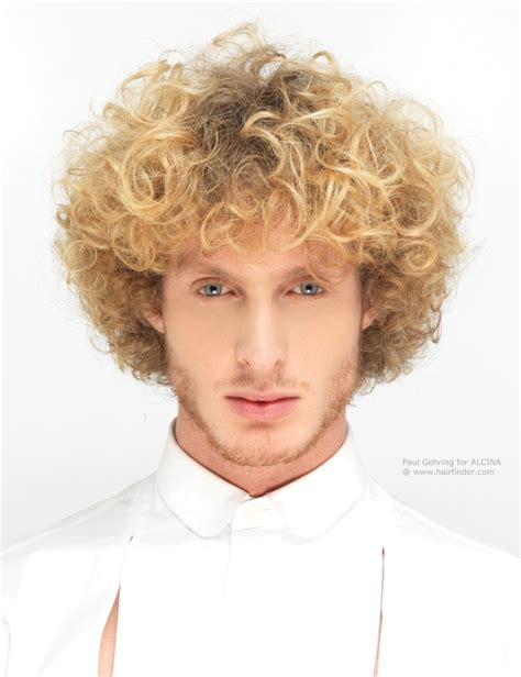 hairstyles guys blonde curly hair layered men s hairstyle with curls and a long fringe