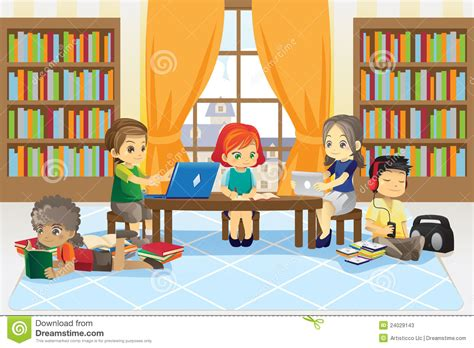 library clipart images children in library stock vector illustration of