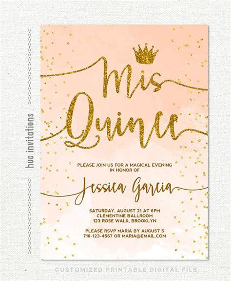 Quinceanera Sle Wording Invitation Cards Template by Quincea 241 Era Invitation Coral Watercolor Gold
