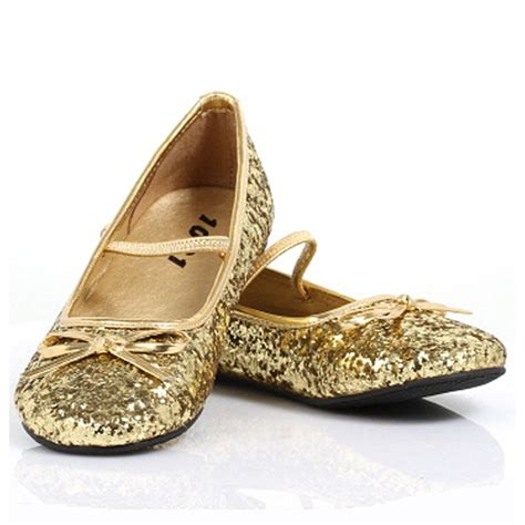 gold slippers sparkle ballerina gold child shoes buycostumes