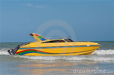 fast yellow boat yellow speedboat royalty free stock photography image