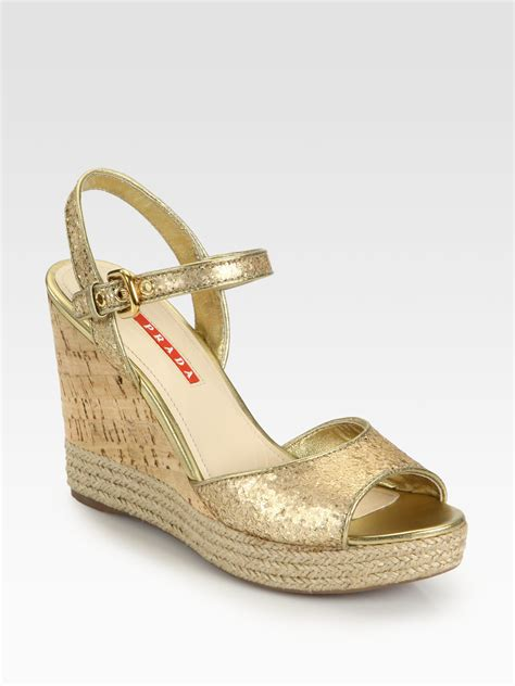 wedges sandal prada glitter cork wedge sandals in metallic lyst