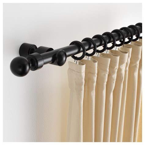 black curtain rods portion curtain rod set black stained 210 cm ikea