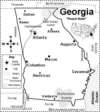 georgia map/quiz printout enchantedlearning.com