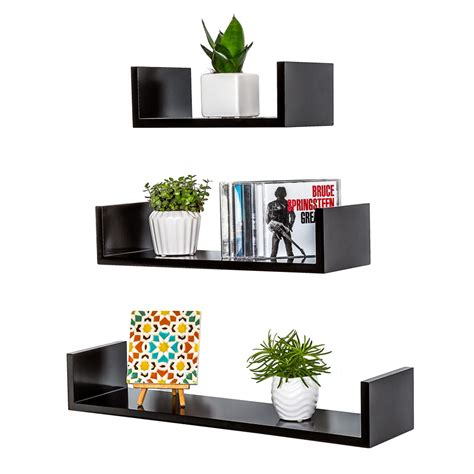 black shelves set wall mounted bookshelf decorative