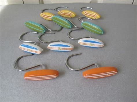 surf bathroom decor surf board shower curtain hooks and bathrooms decor on pinterest