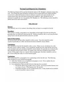 formal lab report template formal lab reports for chemistry 7 formal lab report