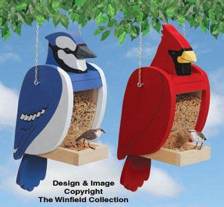 cardinal blue jay shaped feeder set wooden bird
