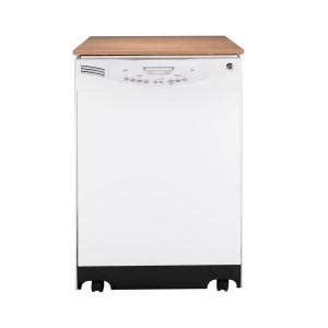 ge portable dishwasher in white with 16 place setting