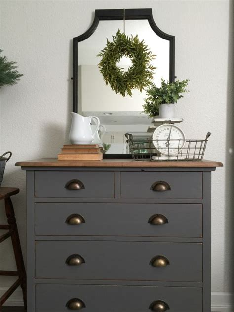 grey painted dresser top is mixture of minwax walnut