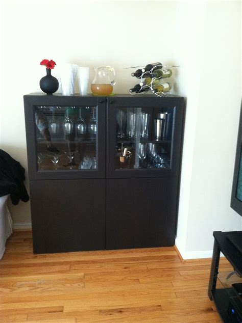 Mini Bar Cabinet Ikea Instead Of Using This As A Floor Unit Hang The Cabinets Around The House Pinterest