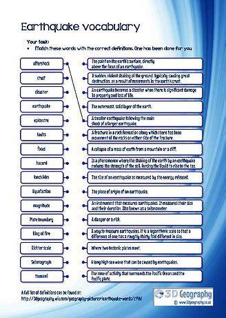 earthquake vocabulary earthquake worksheet worksheets releaseboard free