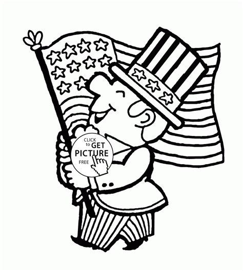 patriotic man with flag fourth of july coloring page for